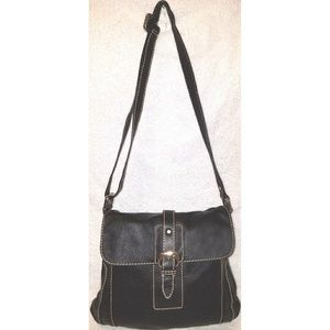Black leather cross-body shoulder handbag
